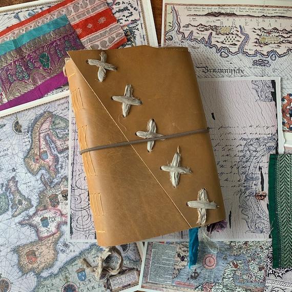 Leather Junk Journal, Golden Brown, Handmade, Unique Journal, Artist Journal, Travel Journal, Book of Shadows, Scrapbook, Bullet Journal