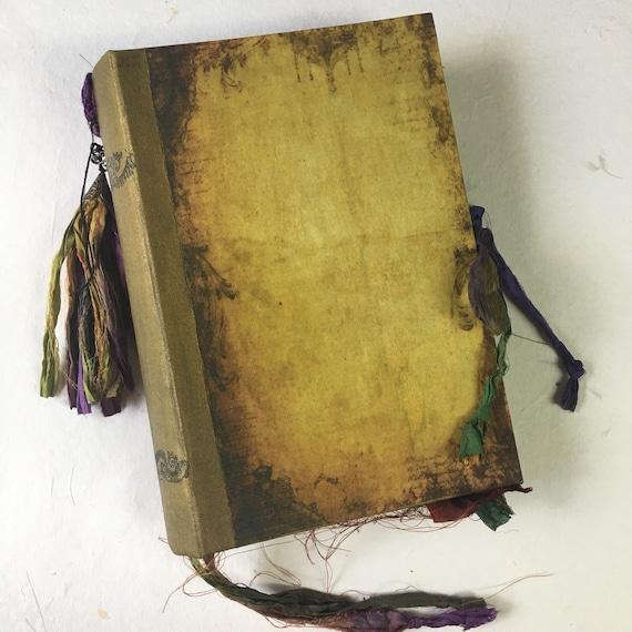 Junk Journal, Sari Silk Trim, Old Book, Unique Journal, Wedding, Photo Album, Guest Book, Art Journal, Scrapbook, Book of Shadows, 2 sizes