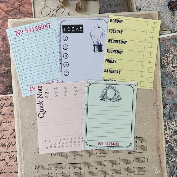 Office Journaling Cards, Ephemera Set, Memory Cards, Stationery Set, Junk Journal Kit, Travel Journal, Writing, Scrapbook, Bullet Journal