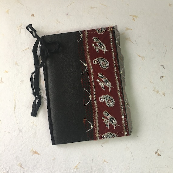 Black Leather Journal with Indian Textile, Writing Journal, Notebook, Travel Journal, Junk Journal, Nomad Collection, Unique Writing Journal
