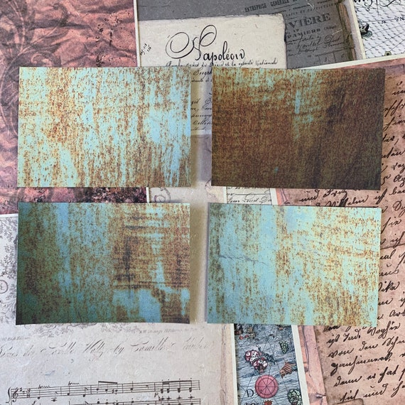 Green Rust Postcards, Writing Papers, Journal Cards, Set of 4, Writing Set, Stationery Set, Victorian Stationery, Vintage Style