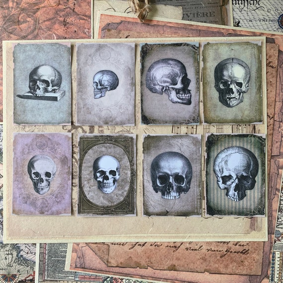 Vintage Skull Stickers, Ephemera Set, Stationery Set, Gothic, Junk Journal Kit, Travel Journal, Sticker Set, Vintage Style, Scrapbook