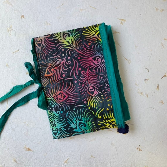 Blue and Peacock Feathers Batik, Boho, Junk Journal, Writing Journal, Notebook, Travel Journal, Nomad Collection, Unique Writing Journal