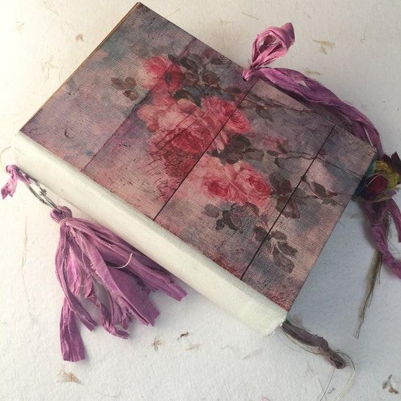 Wedding Guest Book, Pink Roses, Guest Book, Art Journal, Junk Journal, Pink and Blue, Sari Silk Trim, Unique Journal, Scrapbook, 9 x 6