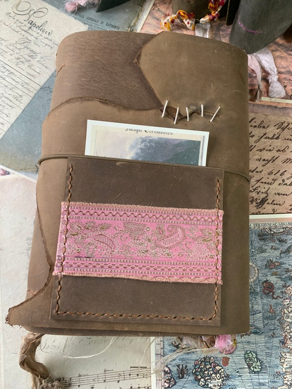 Leather Handmade Junk Journal, Artist Journal, Book of Shadows, Scrapbook, Gift for Writers, Brown and Pink, Scrapbook, 9 x 6