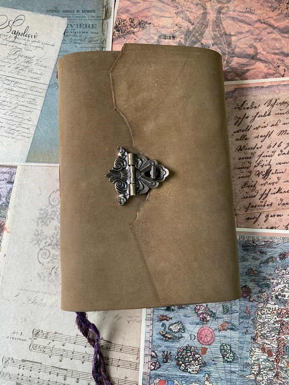 Leather Journal with Clasp, Antique Color Paper, Vintage Journaling, Travel Journal, Art Journal, Sketch Book, Green Brown, 6 x 9 inches