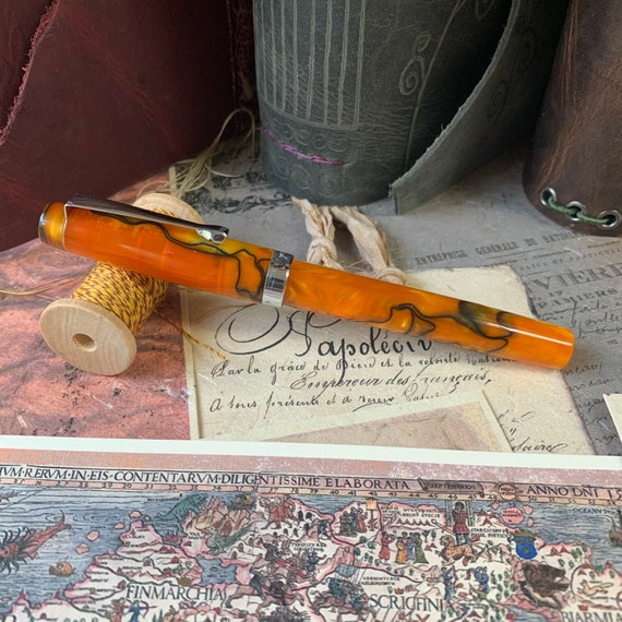 Fountain Pen, FPR Himalaya, Saffron Swirl Acrylic, Extra Fine and Flex Nibs, Calligraphy, Bullet Journal, Writing, Refillable