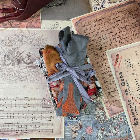 Fabric Scraps for Junk Journals, Gray and Orange, Journaling Supply, Ephemera Set, Junk Journal Kit, Travel Journal, Scrapbook Supplies