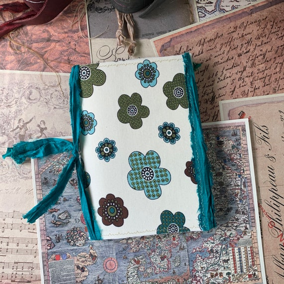 Beige and Green Floral, Junk Journal, Writing Journal, Notebook, Travel Journal, Nomad Collection, Unique Writing Journal