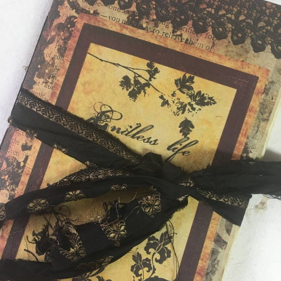 Junk Journal, Paperback, Gothic Notebook, Witchy, Writing Journal, Travel Journal, Notebook, Gifts for Writers, Tea Stained Paper, Notebook