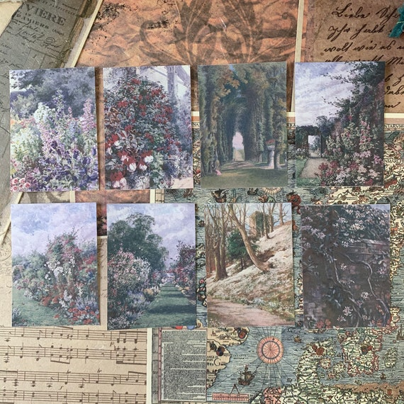 Painterly Garden Stickers 1, Ephemera Set, Stationery Set, Junk Journal Kit, Travel Journal, Sticker Set, Vintage Style, Scrapbook