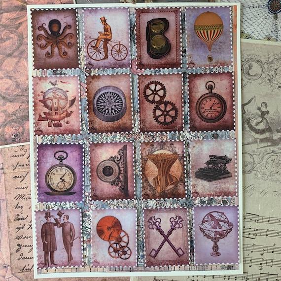 Steampunk Stamp Stickers, Ephemera Set, Stationery Set, Junk Journal Kit, Travel Journal, Sticker Set, Victorian Style Stickers, Scrapbook