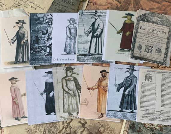 Plague Doctor Ephemera Set, Bullet Journaling, Vintage Ephemera, Stationery Set, Junk Journal, Art Journal, Scrapbook Paper