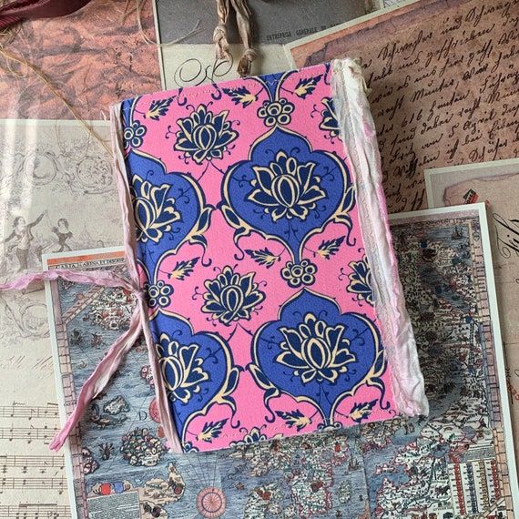 Pink and Blue Lotus, Soft Cover, Boho, Junk Journal, Writing Journal, Notebook, Travel Journal, Nomad Collection, Unique Writing Journal