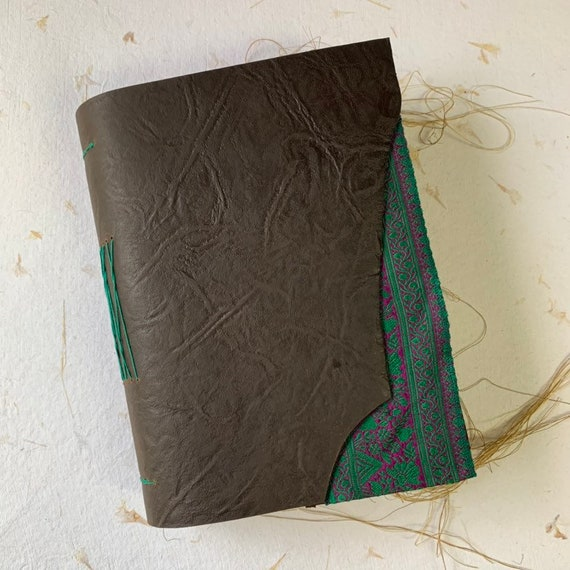 Leather Junk Journal with Green and Pink Trim, Keepsake Journal, Unique Journal, Artist Journal, Travel Journal, Book of Shadows, Grimoire
