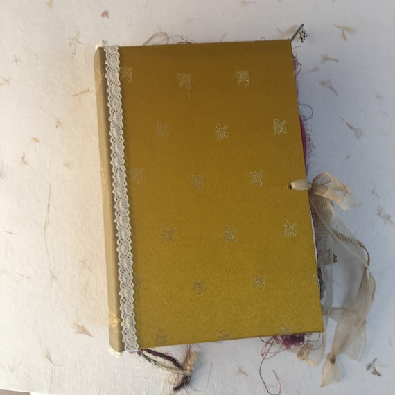 Unique Journal, Junk Journal, Sari Silk Trim, Yellow and Gold Journal, Wedding, Guest Book, Art Journal, Scrapbook, Book of Shadows, 9 x 6