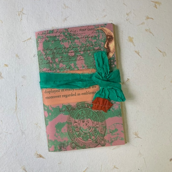 Junk Journal, Paperback, Writing Journal, Travel Journal, Notebook, Gifts for Mom, Gifts for Writers, Tea Stained Paper, Notebook, Moon
