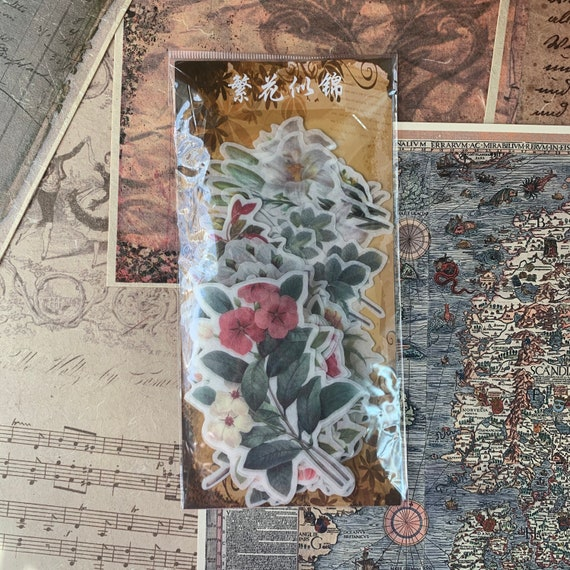 Spring Floral Journal Stickers, Junk Journal Kit, Ephemera Set, Stationery, Travel Journal, Vintage Style, Scrapbook, Vellum Stickers