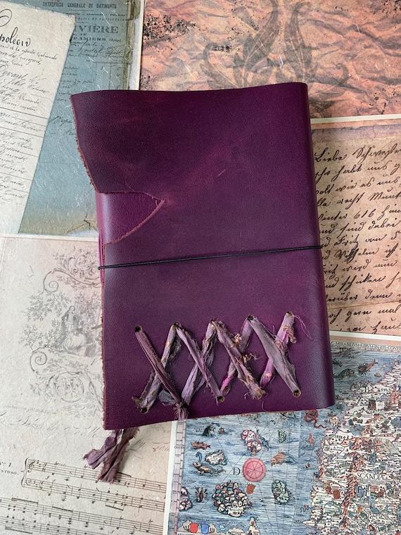 Purple Leather Handmade Journal, Large Journal, Book of Shadows, Grimoire, Unique, Vintage Style, Bullet Journal, Scrapbook Journal