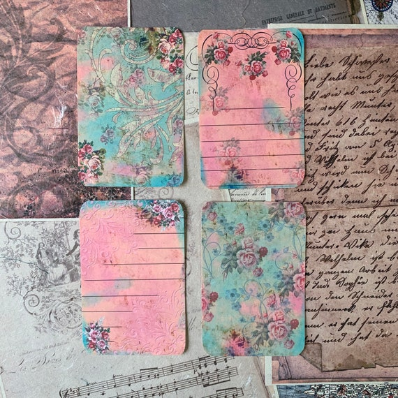 Pink and Green Floral, Vintage Style, Journal Cards, Set of 4, 3 x 5 inches, Stationery Set, Writing Set, Gifts, Bullet Journal