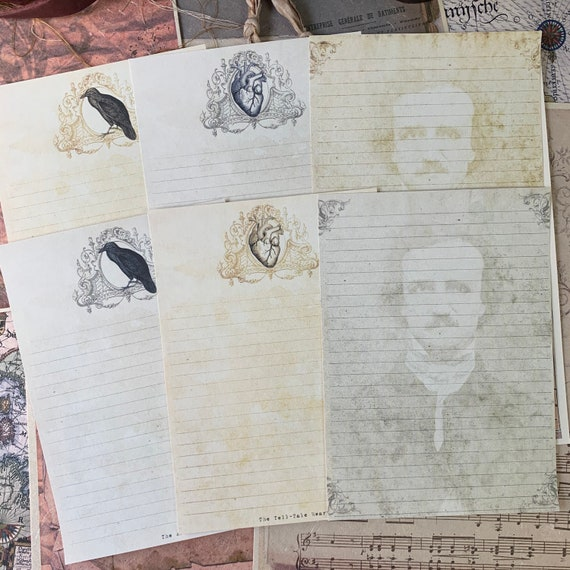 Edgar Allan Poe Paper, 5 x 7 inches, 6 Piece Stationery,  Letter Writing, Set of 6, Stationery Set, Writing Papers, Junk Journals