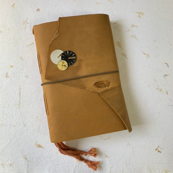 Soft Cover Leather Journal, Tea Stained Paper, Unique Journal, Travel Journal, Gift for Writers, Keepsake Journal, Lay Flat Binding, Blank