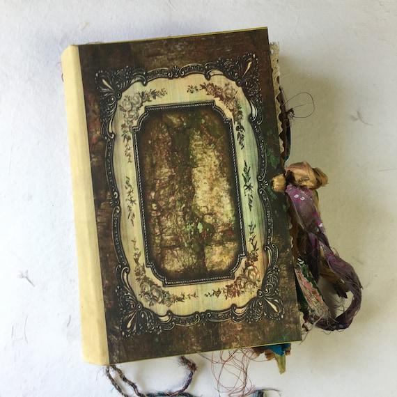 Book of Shadows, Sari Silk Trim, Woodland, Tree Journal, Grimoire, Junk Journal, Guest Book, Art Journal, Scrapbook, Handmade, 7 x 9 inches