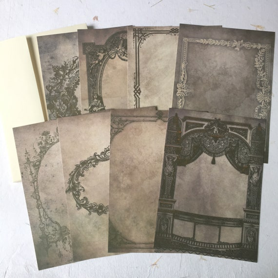 Vintage Frames, Writing Papers, Journal Cards, Set of 8, 4 x 6 inches, Writing Set, Stationery Set, Victorian Stationery, Gray, Gothic
