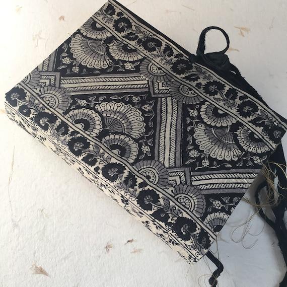 Junk Journal, Black & Silver Silk, Art Journal, Scrapbook, Writing Journal, Handmade, Guest Book, Wedding Book, Sari Silk Trim,  9 x 6 in