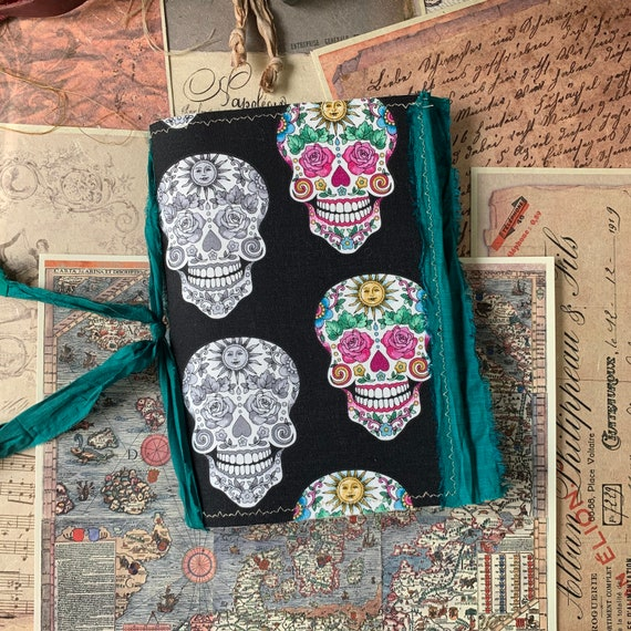 Junk Journal, Sugar Skulls, Gothic Journal, Writing Journal, Notebook, Travel Journal, Nomad Collection, Unique Writing Journal