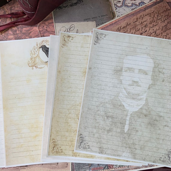 6 Piece Stationery, Edgar Allan Poe Paper, Letter Writing, Set of 6, 8.5 x 11 inches, Stationery Set, Writing Papers, Junk Journals