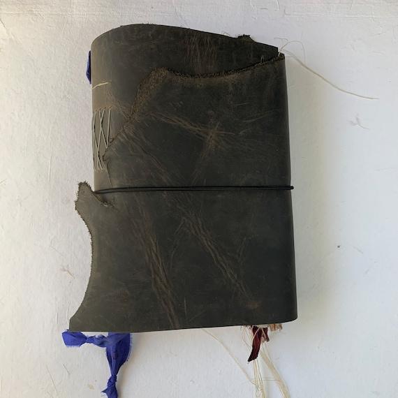 Handmade Leather Junk Journal, Gunmetal Gray, Unique Journal, Artist Journal, Travel Journal, Scrapbook, Zodiac, Galaxy, Vintage Inspired