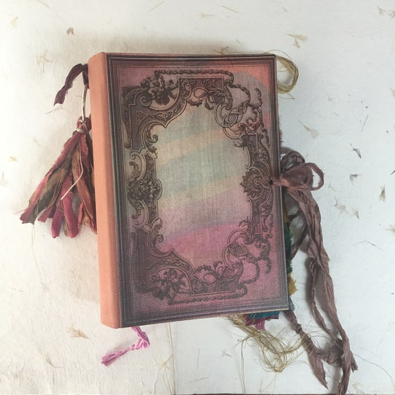 Wedding Guest Book, Pink & Copper Guest Book, Art Journal, Junk Journal, Sari Silk Trim, Unique Journal, Scrapbook, Book of Shadows, 9 x 6