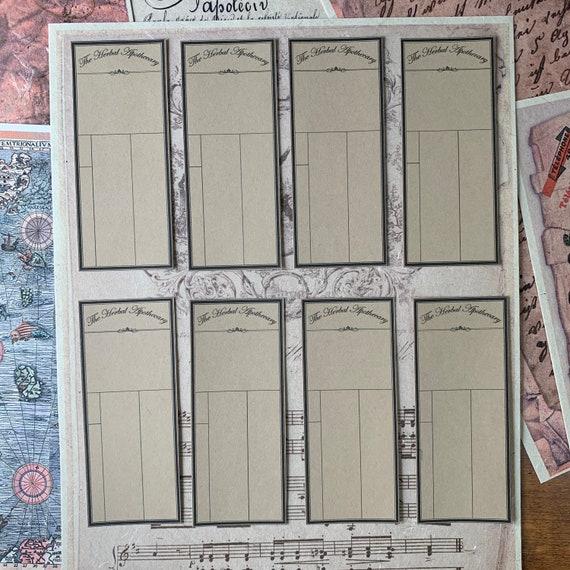 Blank Apothecary Labels, Ephemera Set, Stationery Set, Junk Journal Kit, Travel Journal, Sticker Set, Vintage Style, Medical Ephemera