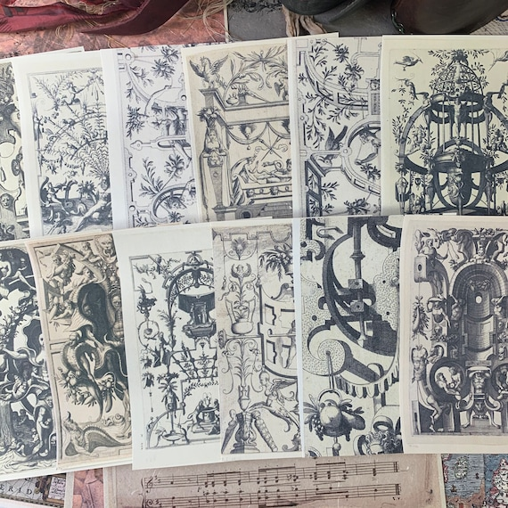 Gothic Writing Papers, Journal Cards, Set of 12, 4 x 6 inches, Writing Set, Victorian Stationery, Black and White, Gothic Scrapbook Paper
