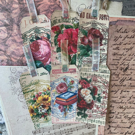 Vintage Ads and Roses Tags, Ephemera Set, Gift Tags, Stationery Set, Junk Journal Kit, Travel Journal, Scrapbook Embellishments