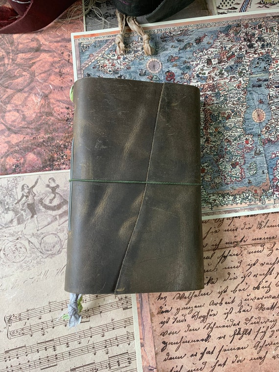 Brown Soft Cover Leather Journal, Tea Stained Paper, Unique Journal, Travel Journal, Gift for Writers, Sketchbook, Bullet, Lay Flat Binding