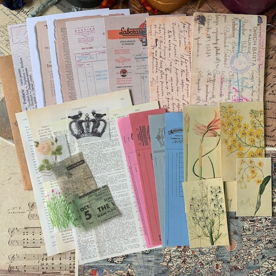 Bullet Journaling Kit, Vintage Ephemera Set, Stationery Set, Junk Journal Kit, Travel Journal, Apothecary & Ads, Receipts, V2