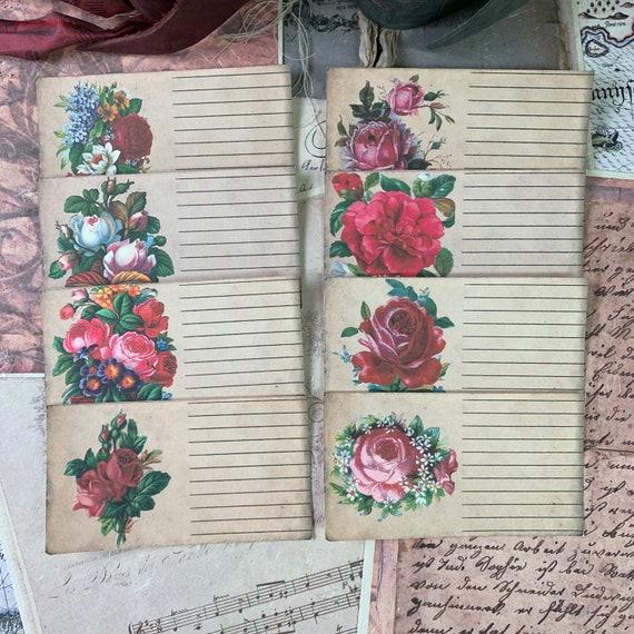 Floral Journaling Cards, Ephemera Set, Library Cards, Stationery Set, Junk Journal Kit, Travel Journal, Scrapbook Paper, Lined
