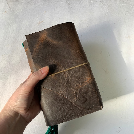 Soft Cover Leather Journal, Tea Stained Paper, Unique Journal, Travel Journal, Gift for Writers, Sketchbook Journal, Lay Flat Binding