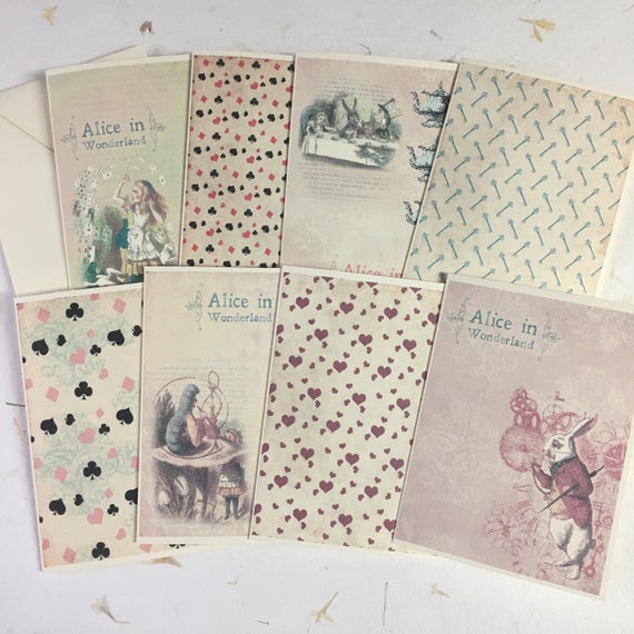 Alice in Wonderland, Flat Notecards, Stationery Set, Blank Notecards and Envelopes, Set of 8, 5 x 7 inches
