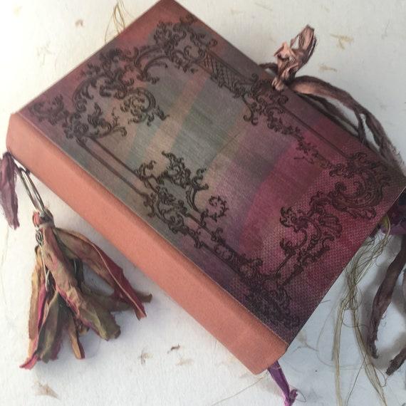 Wedding Guest Book, Art Journal, Junk Journal, Sari Silk Trim, Pink & Copper Guest Book Unique Journal, Scrapbook, Book of Shadows, 9 x 6
