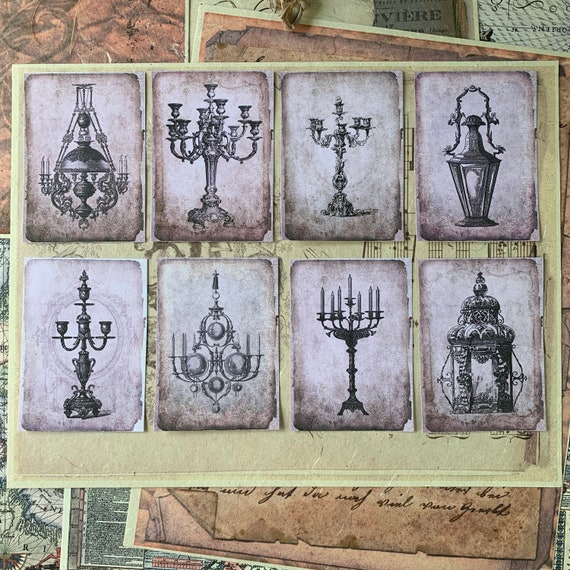 Vintage Candleabras and Lamps, Shabby Victorian Stickers, Ephemera Set, Stationery, Junk Journal Kit, Travel Journal, Sticker Set, Scrapbook