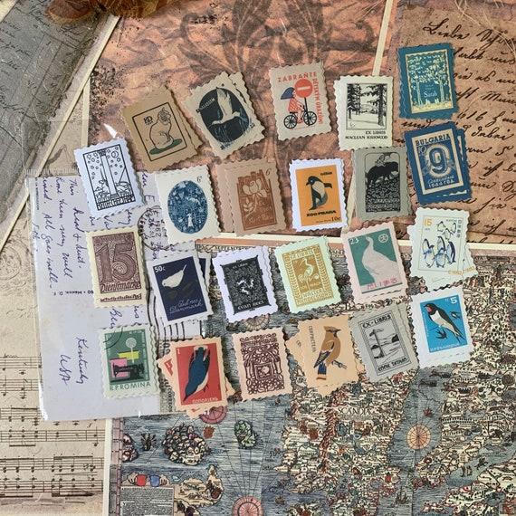Vintage Bird and Nature Designs Postage Stamps, Journal Stickers, Junk Journal Kit, Ephemera Set, Stationery, Travel Journal, Scrapbook