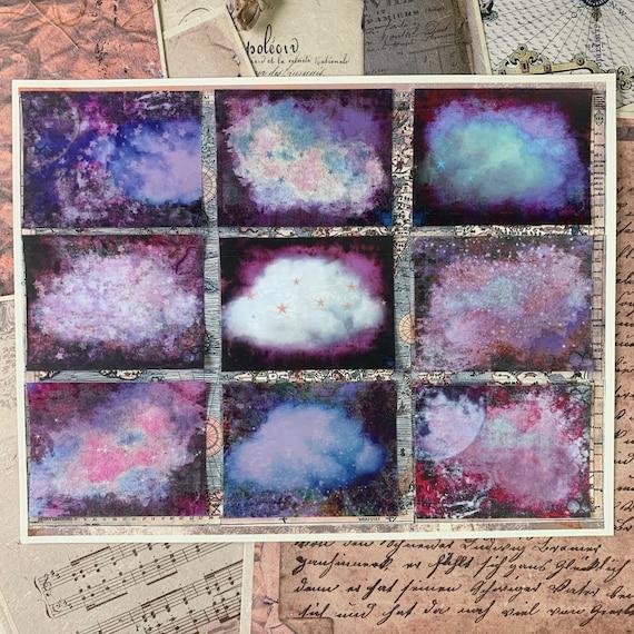 Grungy Clouds and Stars, Shabby Celestial Stickers, Ephemera Set, Stationery, Junk Journal Kit, Travelers Notebook, Sticker Set, Scrapbook