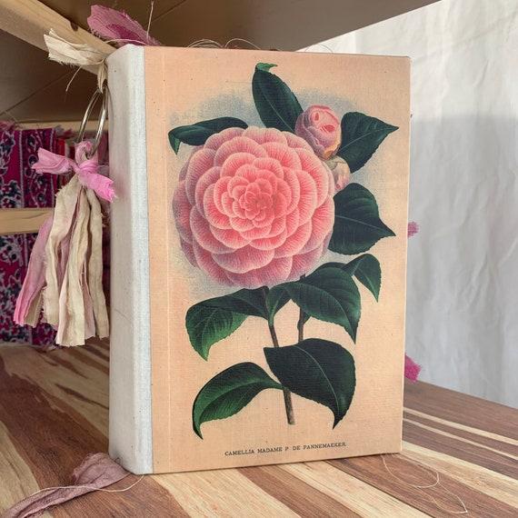 Vintage Floral Print, Handmade, Junk Journal, Art Journal, Scrapbook, Sari Silk Trim, Writing Journal, Guest Book, Wedding Book, 9 x 6 in