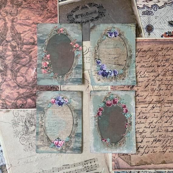 Vintage Frames, Wallpaper, Vintage Style, Journal Cards, Set of 4, 3.5 x 5 inches, Stationery Set, Writing Set, Gifts, Bullet Journal