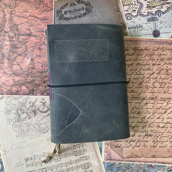 Gray Leather Journal with Aged Paper, Book of Shadows, Hand Etched, Unique Journal, Art Journal, Sketchbook, Notebook, 6 x 9 inches,
