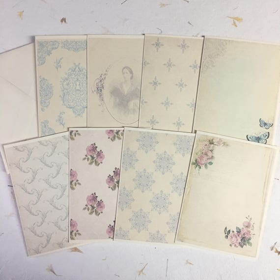 Romantic, Vintage Style, Flat Notecards, Blank Notecards and Envelopes, Set of 8, 5 x 7 inches, Floral Stationery Set