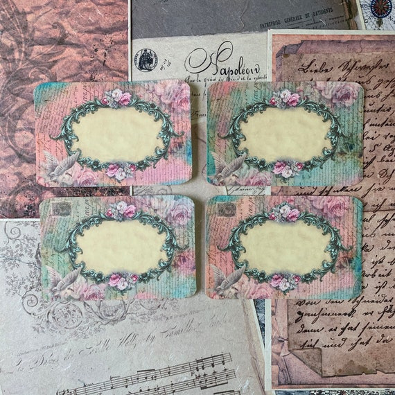 Vintage Frames, Pink and Green, Vintage Style, Journal Cards, Set of 4, 3 x 5 inches, Stationery Set, Writing Set, Gifts, Bullet Journal